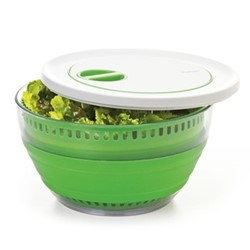 Collapsible salad spinner, 26.7 x 8.3 x 26.7cm, green/white