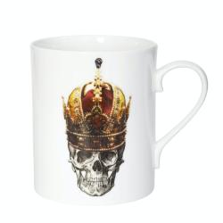 Skull in Red Crown Mug, W7.5 x H9cm, Crisp White/Burnished Gold Details