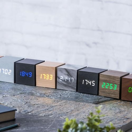 Cube Click Clock, L6.8 x W6.8 x H6.8cm, ash/green