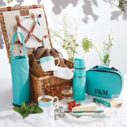 Piccadilly Stripe The Fortnum's 2 person hamper, H37.5 x W37.5 x D19cm