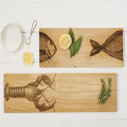Lobster Serving platter - large, 60 x 15 x 1.8cm, Engraved Illustration