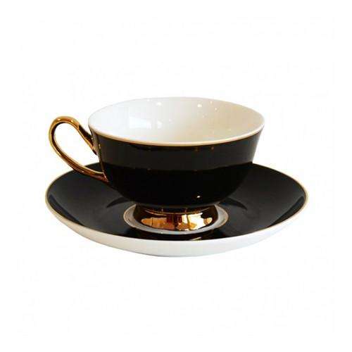 Gold rim Teacup and saucer, H6x Dia15cm, jet black