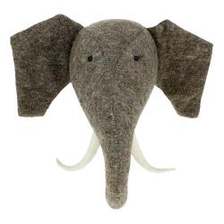Decorative Plaques Wall mounted elephant head, H52 x W52 x D27cm, grey felt