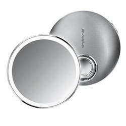 Compact sensor mirror, D10.3cm, brushed steel