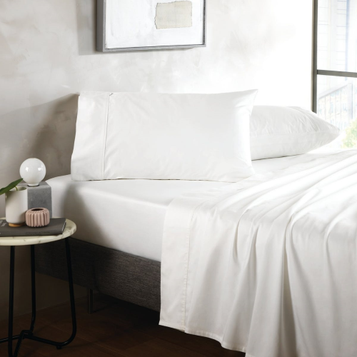 500TC Cotton Sateen King size fitted sheet, 152 x 203cm, Snow
