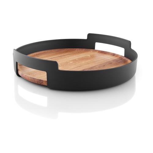 Nordic Kitchen Serving tray, Dia35cm, oak/matt black plastic