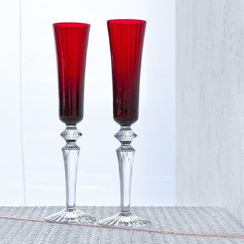 Mille Nuits Pair of flutissimo flutes, H29cm - 16cl, red