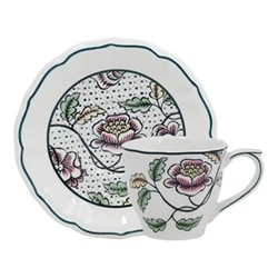 Dominoté - Roses Pair of US teacups and saucers, 15cm - 17.5cl