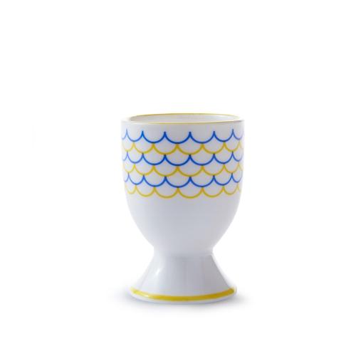 Ripple Egg cup, H6.5cm, Yellow/Blue