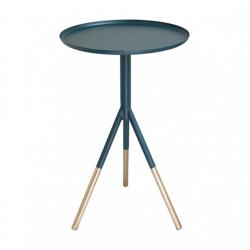 Tripod table, H58cm x Dia37cm, Petrol Blue/Brass