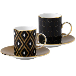 Arris Set of 4 espresso cups and saucers, Assorted