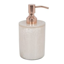 Marbled Resin Soap dispenser, D8 x H15.5cm, ivory