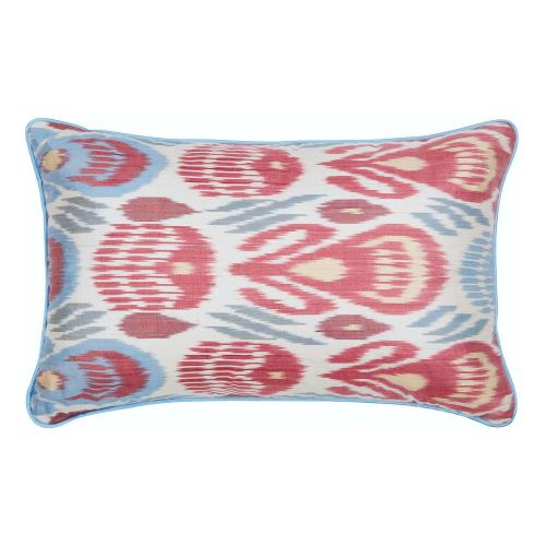 Ikat Cushion, 60 x 40cm, Green/Red/Blue