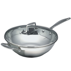 Impact Wok with glass lid, 32cm, stainless steel