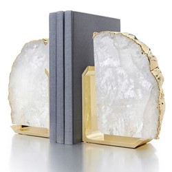 Fim Bookends, 5 x 16 x 12cm, crystal gold