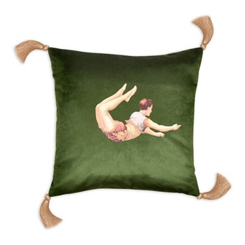 Trapeze Boy Velvet cushion, 45cm, Lush Meadow Green