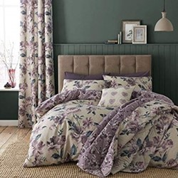 Painted Floral King size duvet set, 220 x 230cm, plum