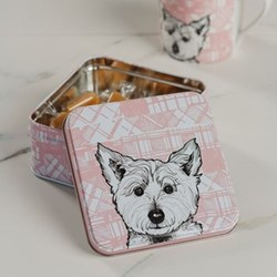 Westie Fudge tin, 12.7 x 12.7 x 5.9cm