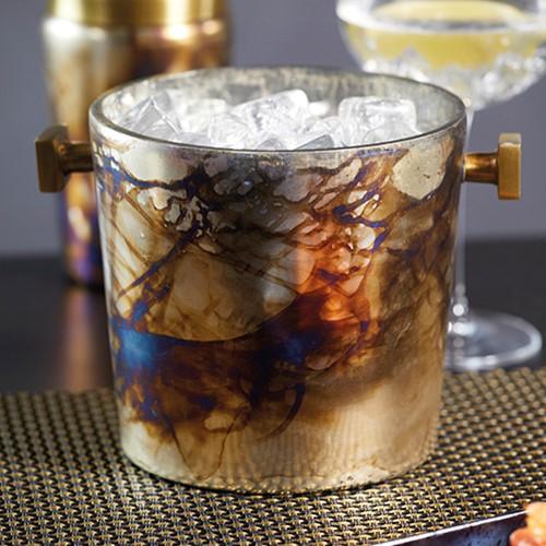 Barcraft Champagne bucket, H15 x D16cm, mecury fire glass