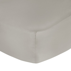 500 Thread Count Cotton Sateen Double fitted sheet, W135 x L190 x H35cm, Taupe