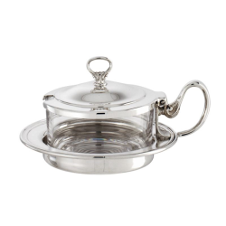 Contour Cheese pot with cover, 12.8cm, Silver Plate