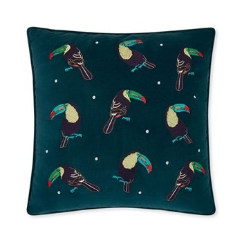 Toucan Cushion, H45 x L45cm, teal