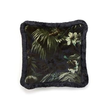 Limerence Medium fringed velvet cushion, 45 x 45cm, navy