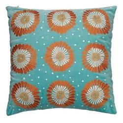 Kenya Collection - Lamu Nile Cushion with polyester insert, 45 x 45cm, blue velvet