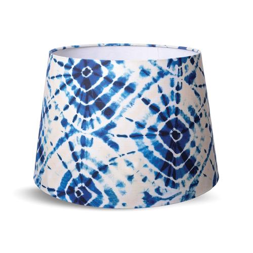 Shibori Swirls Cone lampshade with white fabric lining, H30 x L45 x W45cm, White & Blue