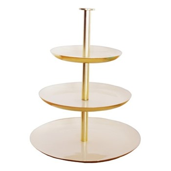 Enamel 3 tier cake stand, gold/cream