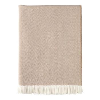 Herringbone Merino woven throw, 190 x 140cm, almond & white