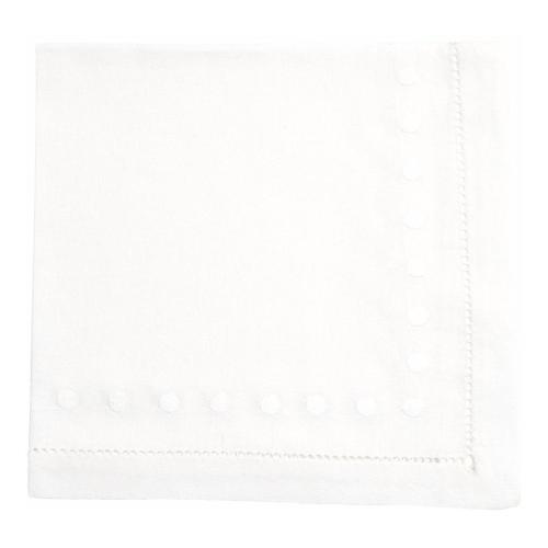 Dots Set of 4 napkins, 45 x 45cm, White Cotton