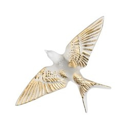 Hirondelles Wall swallow wings down, H6 x L15 x W23.5cm, gold stamped/satin finish