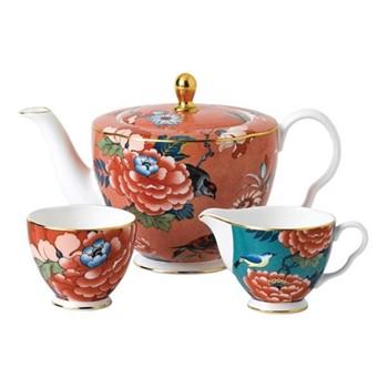Paeonia Blush 3 piece tea set, multi