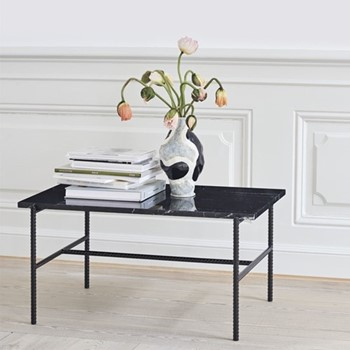 Rebar Coffee table with marble top, L80 x W49 x H40.5cm, black, marble