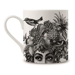 Fruit Lady Mug, H9 x Dia 8cm, black/white