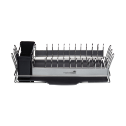 Compact stainless steel dish drainer, 41 x 22 x 12.5cm