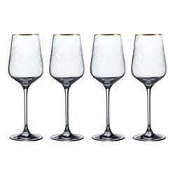 Henry Cole Set of 4 white wine glasses, H24 x W17 x L17cm, metallic grey
