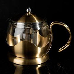 Edited 4 cup teapot, H11.5 x W9.5 x L18cm - 1.2 Litre, brushed gold