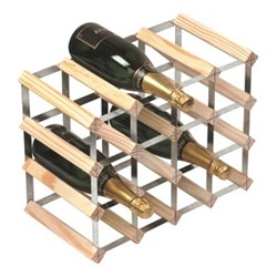 16 bottle wine rack, H33 x W43 x D23cm, natural/galvanised steel