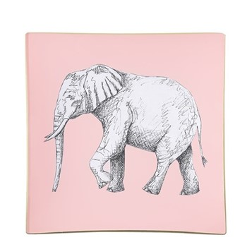 Elephant Square decoupage tray, 15cm, blush pink/gold edging