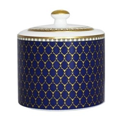 Antler Trellis Covered sugar, H8.5 x D8cm, midnight blue and gold