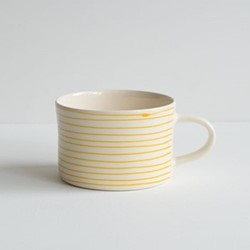 Horizontal Stripe Set of 6 mugs, H7 x W10.5cm, turmeric