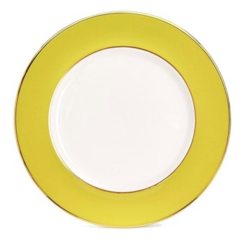 Border Dinner plate, 27cm, crisp white with yellow border/burnished gold edge