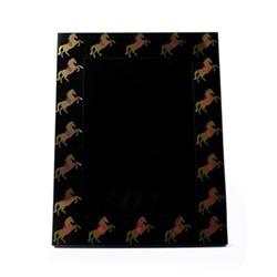 Horse Photograph frame, H26.5 x W21.5 x D2cm, pink/gold