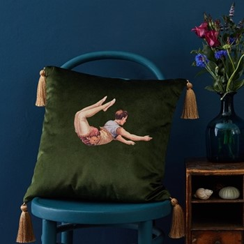Trapeze Girl Velvet cushion, 45cm, Lush Meadow Green