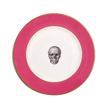 Skull in Red Crown Dinner plate, 27cm, crisp white with raspberry pink border/burnished gold edge