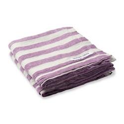 Stripe Linen beach towel, purple and white