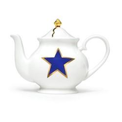 Lucky Stars Small teapot, H13 x W18  x D10cm, crisp white,cobalt blue, fine bone china, 22kt burnished gold details