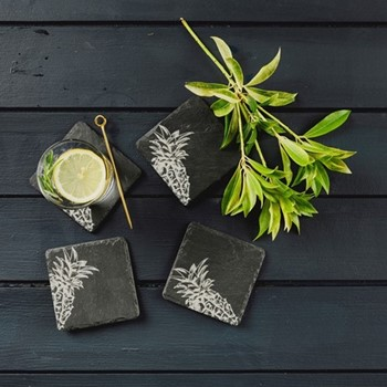 Pineapple Collection Set of 4 coasters, 11 x 11cm